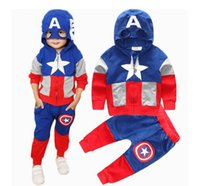 america outfits - Boy s Captain America Outfits Cute Boys Cartoon Suits High Quality European American Children Clothes Hoodies Pants Star Sets