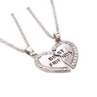 best boys love - Gold Silver Heart Puzzle Pieces Friendship Necklace Crystal Best Friends Letter Pendant Necklace For Girl Boy