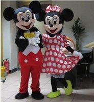 Los trajes adultos de la mascota de Mickey Mouse de la calidad trajes Mickey y traje de la mascota del minnie traje las PC del traje dos del traje del carnaval que envían libremente
