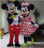 Mickey Mouse para adultos de calidad trajes de la mascota de Mickey y Minnie traje de la mascota del traje de lujo del carnaval dos PC libera el envío