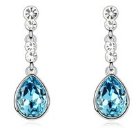 artificial jewellery - JS E074 Turquoise Water Drop Women Earrings Nickel Free Artificial Jewellery Best Seller Fashion Crystal Dangle Earrings