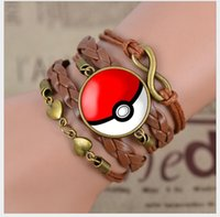 Wholesale 7 Style Fashion Poke go Glass Cabochon Charm Strands Braid Leather Bracelet Bangle for Women Popular Bangle