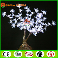 artificial potted christmas trees - 0 m ft Height LED Lighted Cherry Blossom Artificial Trees Wedding Christmas Decorations LEDs High Simulation Potted Landscape Tree