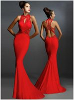 Wholesale 2016 Cheap Prom Dresses Mermaid Sexy Black Red Strapless Halter Elastic Floor Length Evening Gowns Cocktail Bridesmaid Lace Dress In Stock