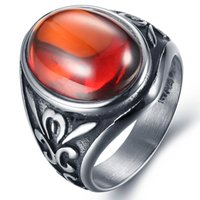 big ruby rings - European stainless steel ring for men and women big ruby Titanium Men s fashion domineering retro jewelry