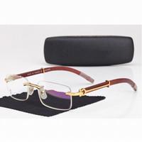 amber carved - Men Carter Rimless Glasses Wooden Buffalo Eyeglasses Brand Optical Glasses Women Silver Gold Wood Glasses Carving Eyewear Frames
