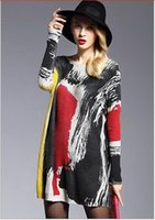 Wholesale XIKOI New High Quality Women s Sweaters Fashion Batwing Sleeve Print Slash Neck Pullovers Computer Knitted Women Sweater