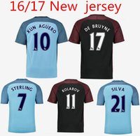 Wholesale 2016 new Manchester City Jerseys DZEKO KUN AGUERO KOMPANY TOURE YAYA DE BRUYNE Home Away Shirt