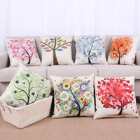 Wholesale Modern simple fashion pillow case pastoral small fresh cartoon flower tree pattern thick art cotton and linen pillow cover