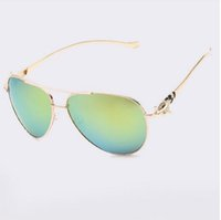 aviation coatings - Luxury diamond metal Fox shape sunglasses women brand designer Aviation glasses Vintage mirror coating sun glasses