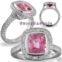 antique diamond cuts - 1 ct GIA pink purple si1 radiant cut diamond antique halo ring platinum size5