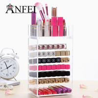 Wholesale Fashion New Clear Acrylic Cosmetic Brush Organizer Box Lipstick Stand Holder Makeup Case Jewelry Storage Box For Women Lady