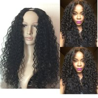 Wholesale Hot Selling U Part Lace Wigs For Black Women A Malaysian Human Hair Deep Curly Middle Upart Wigs Density