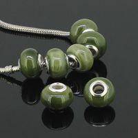 Wholesale Wholesales Green Ceramic Rondelle Spacer Big Hole Charms Beads For Making European Bracelet Porcelain Diy Beads