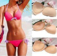 Wholesale 2016 Pair Sponge Swimsuit Padding Inserts Breast Enhancer To Bra Push Up Breast Bikini Padding Removeable Bra Pads for Wo