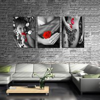 Cheap Wall decoration Unframed 3 Pieces picture Canvas Prints Naked sexy woman rose petal Lavender mountain waterfall Wine Glass Abstract flowers