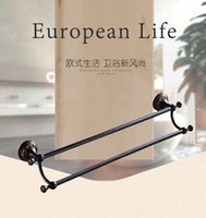 bathrooms towel rails - Top Fashion Wall Mounted Carving Classical Antique Brass Bathroom Accessories Racks Black Rack Rail Holder Towel Bar Black Towel Rack Shelf