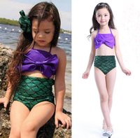 Wholesale 2016 Kids Swimming Costumes Summer Mermaid Swim Suit Girls Swimsuits Cute Childrens Swimwear Bikinis Set Fashion Split Girl Swimsuit