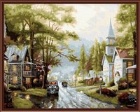 beautiful landscape scenery - Fashion X50cm Frameless DIY Digital Oil Canvas Painting Beautiful Scenery in Town by Numbers Kits with Pigment Home Decor Wall Decor