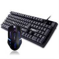 Wholesale New Black Mechanical Suspension Keyboard and Breathing Lights Mouse Gaming Keyboard and DPI Switch Mouse BK V7