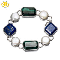 Wholesale Lapis Pearl Jewelry - Wholesale-Statement Jewelry Natural Malachite, Lapis Lazuli, Pearl Solid 925 Sterling Silver Link Tennis Bracelet for Women Fine Jewelry