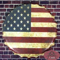 beer united states - Vintage metal signs Round signs United States America flag Beer Cap Bar pub home Wall Decor Retro Metal Art Poster cm RD