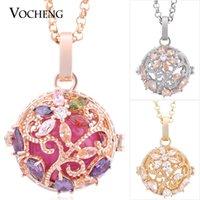 VOCHENG Bola Bola Jaula de la flor del collar de la joyería de cadena de acero inoxidable de 3 colores con incrustaciones de piedra de la CZ intercambiable Locket VA-222