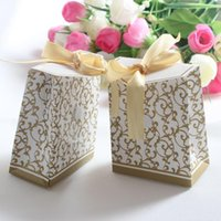 Wholesale Gold silver two colors Ribbon Wedding favour box Party Candy Box Favor Gift Boxes wedding box