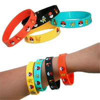 Wholesale Poke Silicone Bracelets Kids Cartoon Pikachu Pocket Monster Charmander Squirtle Bracelet for Women Men Wristbands mens Jewelry Accessories