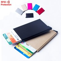 aluminium slides - 2016 Automatic Pop Up Click Slide Card Holder Thin Metal RFID Card Protector Cases Slim aluminium Credit Card Holder Wallet