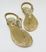 adhesive jewels - Summer Korean version of the influx princess sandals Rhinestone jewel in Europe and America elastic clip toe flat shoes