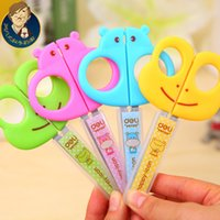 Wholesale Fan uncle Deli stationery cartoon stainless steel safety scissors shears t students