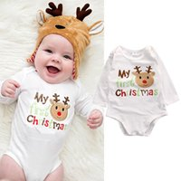 Cheap 2016 my first christmas cool letters printed baby bodysuit top Cotton Newborn Infant kids Boys Girls Romper o-neck Jumpsuit Clothes Outfits