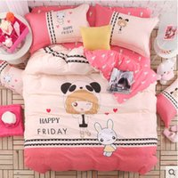 Wholesale 2016 New Comforter Bedding Set Reactive Printed cute Duvet Cover Sets Cotton Flat Sheets Queen Full Twin Size