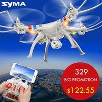 Wholesale Original Syma X8W x8 CH axis quadcopter drone with HD camera RC Quadcopter with MP WIFI FPV wide Angle camera RTF Free ship