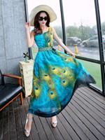 Wholesale 2016 Women Summer Style Floral Print Maxi Beach Dress Sleeveless Maxi Dresses Three dimensional peacock bohemian dress Plus Size S XXL NSQ77