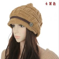Wholesale Knit Hats Beads - Street fashion knitted Miss Mao Xianmao ear warm winter fashion tide hat cap wholesale bead belt