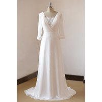 Wholesale Sheath Real Photo Custom Made Vintage Long Sleeves White Chiffon Bridal Gowns Wedding Dress Bride Dresses