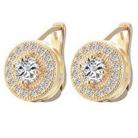 alloy cushion cut - Classic Design K Gold Plated Cushion Cut Big CZ Diamond Wedding Hoop Earrings for Women