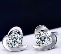 Wholesale 925 silver heart shaped artificial diamond Earring stud K Fashion for women fashion jewelry new product