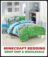 bedding sets usa - Drop Ship USA UK AU Size Minecraft Bedding Set Kids Bedding Set Duvet Cover Flat Sheet Pillow Case Drop Shipping