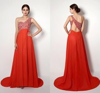Wholesale One Shoulder Sweep Train Open Back Sleeveless Chiffon Modern Spring Summer Special Red Carpet Dresses Pageant Dress