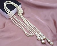 Wholesale 2016 Brand New Designer Classcial Layers Statement Fashion White Charms Artificial Chain Long imitation Pearls Necklace