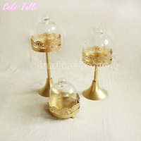 Wholesale Glass dome single cupcake mini gold stand set of pieces high standing decoration for event wedding party bakeware cake tools