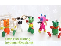 Wholesale 50 random shipment new kids toy puppet puppetry spring animal jump doll cartoon shape doll wood pinocchio wooden toy