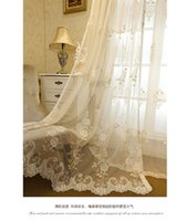 Wholesale Fedex or Ups Korean pastoral style floral embroidery lace sheer curtain tulle curtain for kitchen coffee house decor