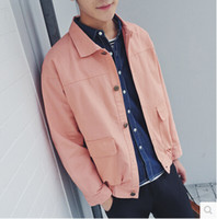 army jacket mens small - The new stylish Lapel coat Mens autumn candy color thin jacket men s fashion color small fresh leisure jacket