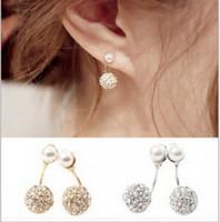 Wholesale Star model with pearl diamond drill after double steel ball stud earrings earrings