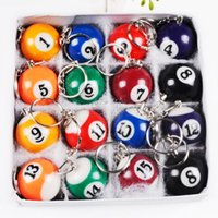 Wholesale Resin Billiard Ball Keychains Snooker Table Ball Key Ring Lovely Pendant Key Chain Key Holder Gift Mixed Color and Number