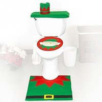 Wholesale New A Set of Christmas Santa Bathroom Toilet Seat Cover and Rug Set Elf for Christmas Decoration